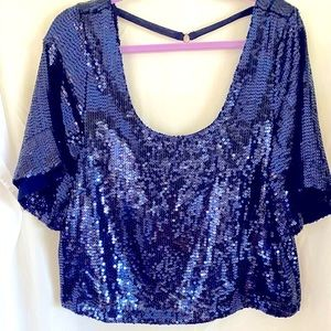 NWT Free People Navy Sequin Top Size M